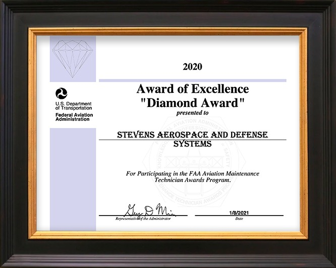 Stevens Aerospace receives FAA Award of Excellence for 2020